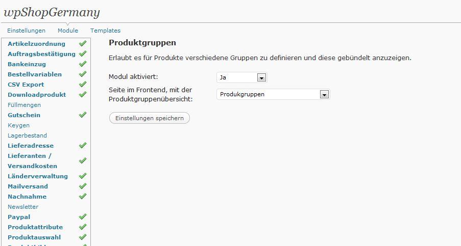 Produktgruppenansicht und Artikelzuordnung | wpShopGermany