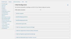 E-Mail Konfiguration von HTML Mail, Absender, BCC, CC, To und From im wpShopGermany WordPress Shop System