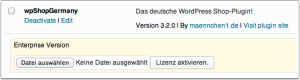 WordPress Plugins: wpShopGermany Lizenz eingeben