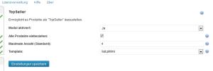 "Konfiguration des wpShopGermany WordPress Shop Plugin Moduls ""TopSeller"""