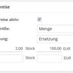 Konfiguration von Staffelpreisen im wpShopGermany WordPress Shop Plugin System