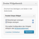 Konfiguration des Trusted Shops Widgets in einen Widgetbereich