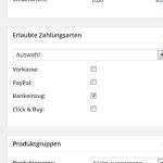 Zahlungsarten je Produkt beschränken im wpShopGermany WordPress Shop Plugin System