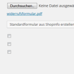 Konfiguration des Widerrufsformulars im wpShopGermany WordPress Shop Plugin Systems