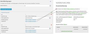 """Gegenüberstellung von Front- und Backend des Moduls """"Bestellbedingungen"""" im wpShopGermany WordPress Shop Plugin Systems"""