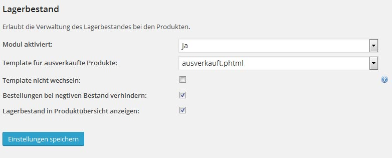 Modul Lagerbestand | wpShopGermany