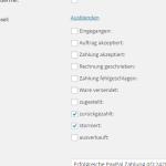 Auswahl von Zuständen bei denen eine Stornierung der Zahlung im wpShopGermany WordPress Shop System erfolgen soll.