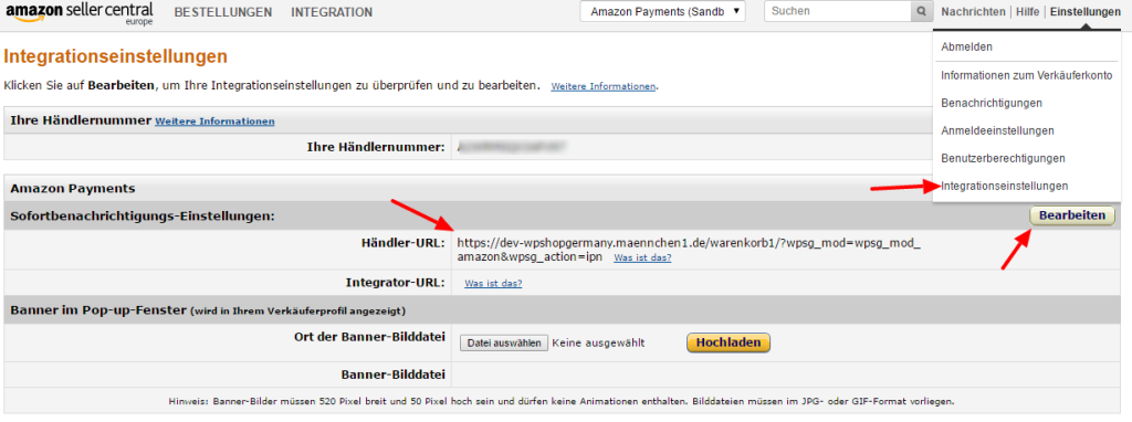 IPN URL für die Amazon Payment API Integration des Shop Systems wpShopGermany
