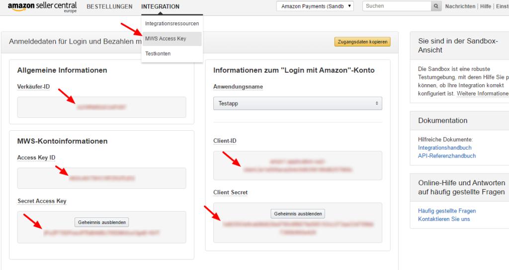 Benötigte API Zugangsdaten für das wpShopGermany WordPress Shop System