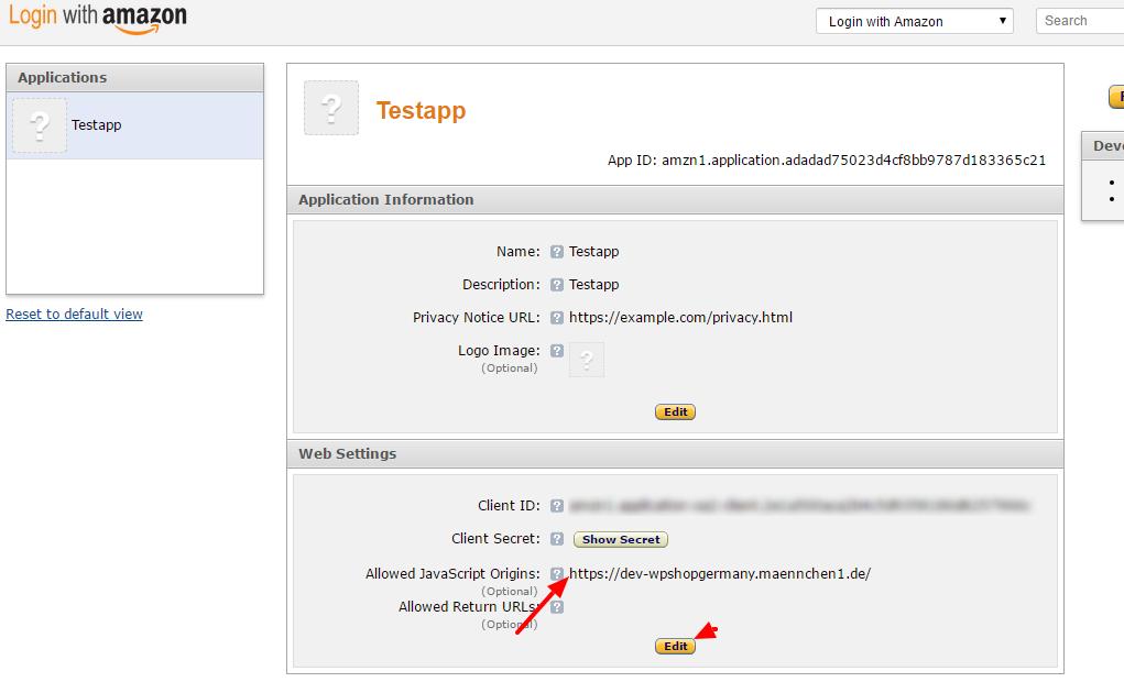 Hinterlegung der Origin ID für die Amazon Payment API aus dem Shop System wpShopGermany