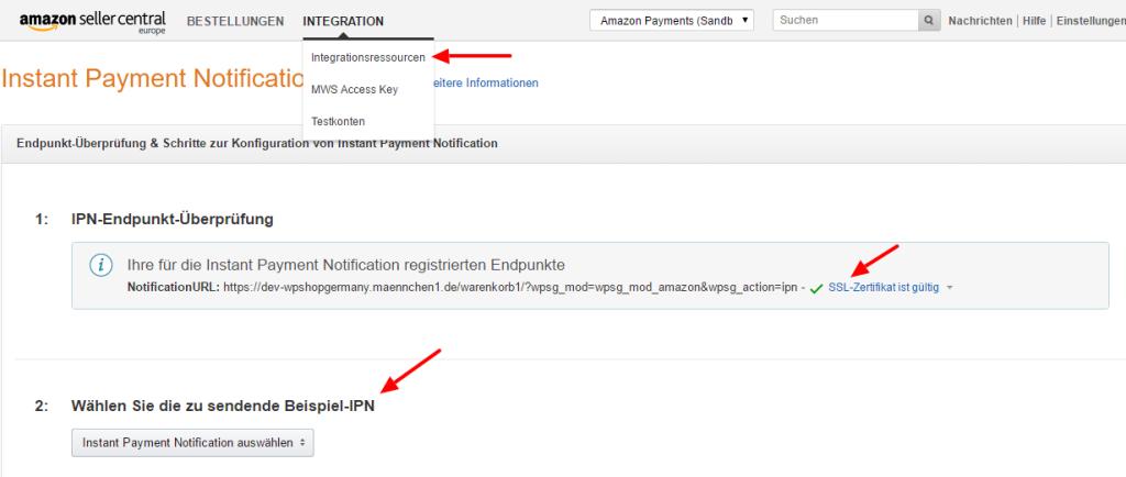 Test der IPN für die Amazon Payment Integration in den wpShopGermany
